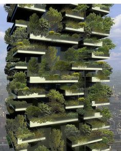 Luxurious high-rises boasting a built-in connection to nature. Closer detail of Milan's Bosco Verticale (Vertical Forest), designed by Boeri Studio.