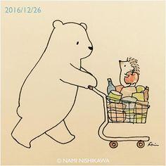 1073 お買い物 shopping #illustration #hedgehog #polarbear #イラスト #ハリネズミ #シロクマ #なみはりねずみ #illustagram