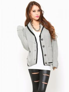 Black Trim Knit #Cardigan