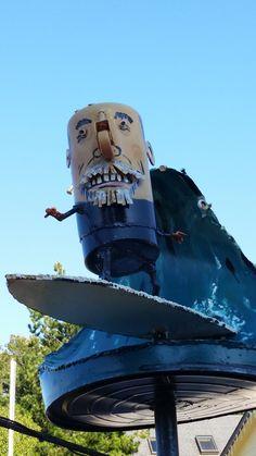 """Surfer Dude"", Hwy 1 Bodega Bay Patrick Amiot Urban Folk Junk Art Metal Yard Art, Metal Art, Sculpture Art, Sculptures, Bodega Bay, Surfer Dude, Junk Art, Sonoma County, Folk"