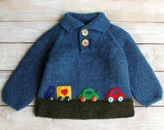 Bebé niño suéter Jersey de lana de tamaño de por SilverMapleKnits
