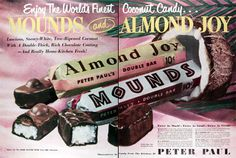 candy advertising from the 50s | 1950 Mounds Almond Joy Chocolate Candy Bars original vintage ...