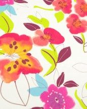 Stretch Cotton Sateen Fabric - Watercolour Floral Orange