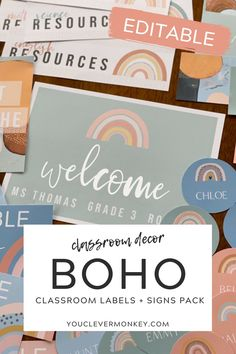 These modern rainbow labels   signs will bring a bit color to your classroom without overwhelming your space! The neutral rainbows in soothing greens, soft blue, earthy oranges plus print friendly white, will help calm your classroom. Easy to edit, choose your label or sign, use our fonts or add your own then print! Label desks, trays, tubs, lockers, teacher and office supplies... the choices are limitless! Ready to print clock labels, table numbers, reading group signs, number lines and… Classroom Labels, Classroom Displays, Classroom Decor, Clock Labels, Number Lines, Behaviour Management, Reading Groups, Project Based Learning, Table Numbers