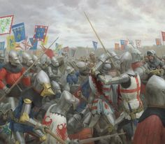 Melee combat between the English and the French at Agincourt, Hundred Years War