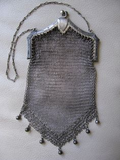Antique Art Nouveau Deco Floral Crest Silver T Frame Ball Tassel Mesh Purse #22 #EveningBag