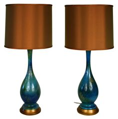 copper and sea blue lamps