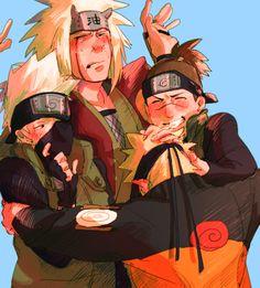 Jiraiya, kakashi, iruka y naruto