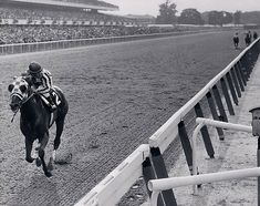 40 YEAR AGO TODAY ... Secretariat won the 1973 Belmont Stakes by a record-setting 31 lengths. Not only did he become the first Triple Crown winner in 25 years, but his average speed was 37.5 mph. And most of that - as this famous photograph shows - was running against himself.