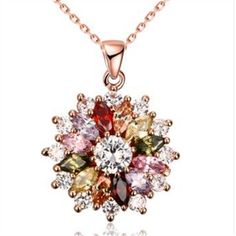 >> Click to Buy << Beautiful rose gold fashion zircon PROM date cascading flower color pendant necklace #Affiliate