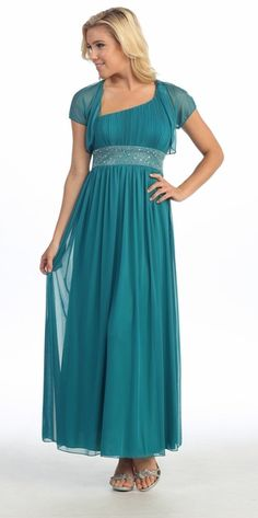 Dinner Party Chiffon Empire Waist Dress #discountdressshop #tealdress #dinnerpartydress #formalwear #chiffondress