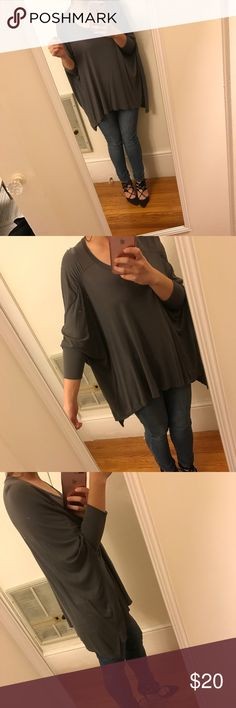 Gray Asymmetrical Dolman Sleeve Jersey Tee Super chic silhouette!  Comfy soft jersey tee. Maggie Ward Tops