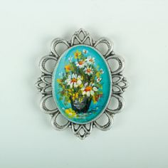 The Painting Magnet Of Flowers Magnets, Ottoman, Brooch, Turquoise, Free Shipping, Rings, Flowers, Painting, Collection