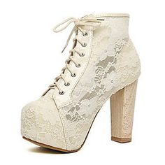 Sexy Lace Chunky Heel Ankle Boots With Lace-up – GBP £ 27.28