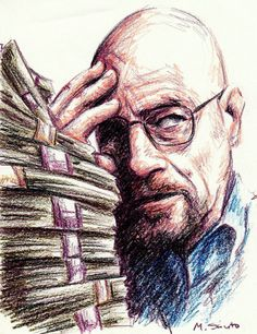 """not since It's a little colored pencil scribble sketch of the great """"Heisenberg"""" from Breaking Bad. Breaking Bad Art, Fanart, Heisenberg, Colored Pencils, Coloring Pages, Deviantart, Scribble, Sketch, Fictional Characters"""