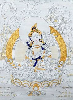 White Tara - Golden elements, tibetan thangka