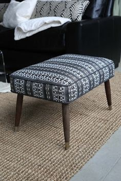 On Sale Now, $345, Vintage Mid Century Modern Ottoman Upholstered In New  Fabric