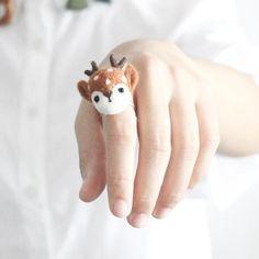SPROUT【芽】原創羊毛氈手工立體小鹿戒指