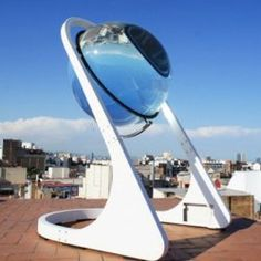 This glass sphere might revolutionize solar power on Earth. 35% more efficient than current solar panels and is able to operate on cloudy days. It concentrates light by 10,000 times. Architect André Broessel was a finalist in the World Technology Network Award 2013.