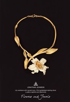 #Lily #necklace made of carved #ivory 18kt plated sterling #silver a yellow sapphire and #diamonds. One of a kind! #jewelry #jonathanjohnson #gold #JonathanJohnson #jonathanjohnsonjewelry #jonathanjohnsonjewellery #jewelry #accessories #style #accessory #fashionjewelry #hautecouture