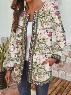 Ethnic Style Floral Print Plus Size Jackets - Newchic Plus Size Outerwear Mobile Plus Size Outerwear, Plus Size Coats, Ethnic Fashion, Womens Fashion, Vestidos Vintage, Ethnic Print, Jackets For Women, Clothes For Women, Plus Size Blouses