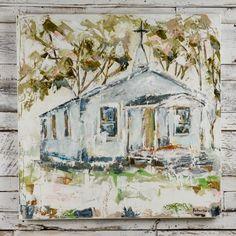 Rural Church canvas painting, by Sarah Robertson