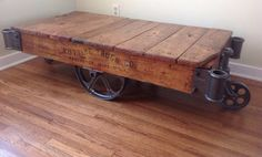 Nutting warehouse cart coffee table refinished. (Sold) on Etsy, £250.09