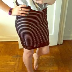 """NWOT Black and White Mid Length Fitted Skirt Black and white striped fitted skirt - 20"""" from top to bottom - sheer black/transparent stripe overtop of a white lining - elastic band around the waist - fits a bit more like a medium but listed as size L and can be with stretch - never been worn Rampage Skirts Midi"""