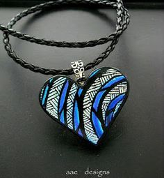 Dichroic Fused Glass Jewelry by Tanya Veit: Hand Etched Dichroic Fused Glass Pendant Necklace