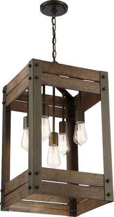 Farmhouse Lighting, Rustic Lighting, Home Lighting, Pendant Lighting, Cabin Lighting, Light Pendant, Lighting Ideas, Wooden Chandelier, Rectangle Chandelier