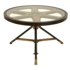 Metal Glass Table Circular Movie Reel