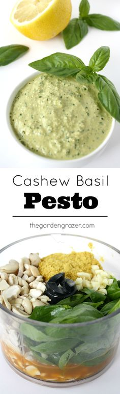 Our favorite vegan pesto! So easy and gives a huge flavor boost to sandwiches, wraps, pasta, etc! #vegan #pesto #cashew #basil