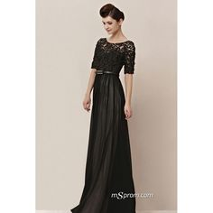 Black Evening Dress with Sleeves. Like the bottom, needs better lace on top.