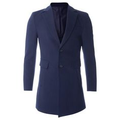 Men's Slim Fit Single Breasted Two Button Wool Blend Long Coat (CT419) #FLATSEVEN  FLATSEVENSHOP.COM