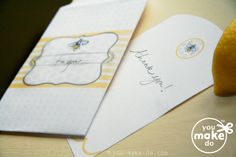 sweet bees notecard, invitation, envelope, and seed packet favor from http://www.you-make-do-shop.com/