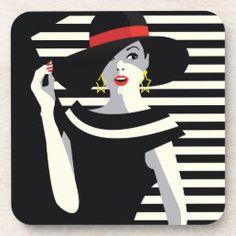 Silhouette Painting, Girl Silhouette, Moda Pop Art, Tableau Pop Art, Art Deco Cards, Pop Art Fashion, Girl With Hat, Art Tutorials, Makeup Tutorials