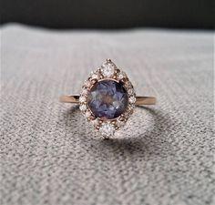 Etsy Purple Iolite Diamond Engagement Ring Halo Bohemian Art Deco Indian Vintage Antique 14K Rose Gold Ex