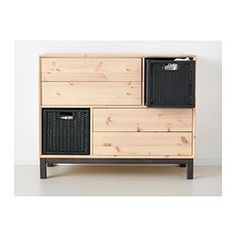 IKEA - NORNÄS, 4 drawer chest with 2 compartments, , Made of solid wood, which is a durable and warm natural material.Optimise your storage with BRANÄS or DRÖNA boxes.