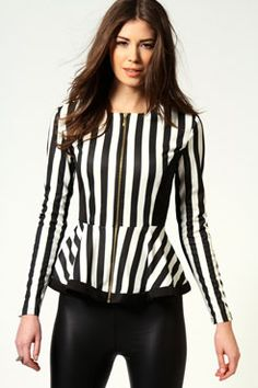 Shia Stripe Zip Through Peplum Blazer £25 >> http://www.boohoo.com/restofworld/clothing/new-in/icat/newin/new-in/shia-stripe-zip-through-peplum-blazer/invt/azz54375