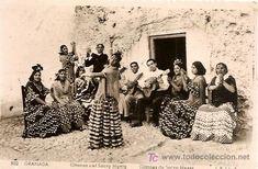POSTAL DE GRANADA  -    SACROMONTE, GITANOS   -  CIRCULADA 1957  -