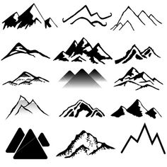 Mountains royalty-free mountains stock vector art & more images of back lit Mountain Drawing Simple, Mountain Sketch, Simple Mountain Tattoo, Tattoo Mountain, Mountain Logos, Mountain Range, Tattoos Mandala, Mountain Paintings, Tatoo Art