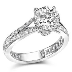 18K White Gold Split Shank Diamond Ring Mounting