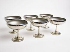Set of 6 Vintage French Pewter Champagne Coupe Glasses | Candlestick in the Library