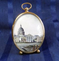 Vintage Miniature Watercolor Painting Orig Signed, St Pauls Cathedral London, Brass Frame | eBay #vintage #watercolor #miniature