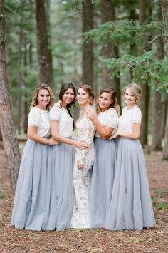 Tulle, tulle, and more tulle! We love the whimsical and airy bridal style that tulle brings to the table! We rounded up 20 top-tier Tulle Wedding Ideas that we are loving right now! Bridesmaid Skirt And Top, Two Piece Bridesmaid Dresses, Modest Bridesmaid Dresses, Bridesmaid Outfit, Lace Bridesmaid Dresses, Wedding Dresses, Tulle Wedding Skirt, Bohemian Bridesmaid, Perfect Wedding Dress