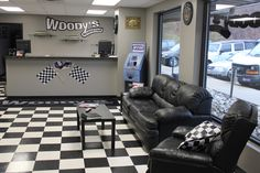 Woody-s Automotive; New Auto Repair Shop Opens in Randolph Woody-s Automotive; Waiting Room Design, Automotive Shops, Office Waiting Rooms, Mechanic Shop, Mechanic Garage, Repair Shop, Car Repair, Garage Design, Car Shop
