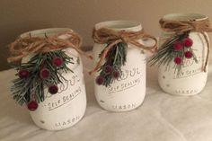 Rustic Christmas mason jar Christmas decorations by DebDebsCrafts