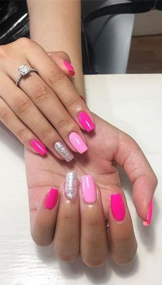 Valentine's Day Nail Designs, Winter Nail Designs, Colorful Nail Designs, Simple Nail Designs, Nails Design, Summer Acrylic Nails, Cute Acrylic Nails, Summer Nails, Winter Nails