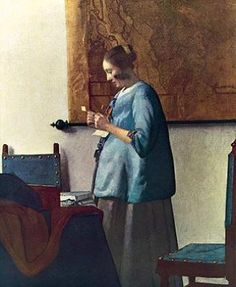 """Johannes Vermeer """"Woman in Blue Reading a Letter"""", 1663-64, Oil on canvas, 46.6 cm × 39.1 cm, in Rijksmuseum Amsterdam, Amsterdam"""