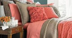 Love the coral with browns for my guest bedroom.